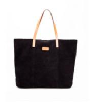 Black Suede Pocket Tote Bags