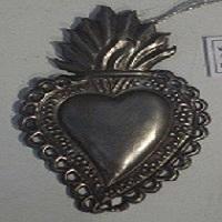 Sacread Heart Milagro Silver Antique