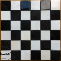 48x48 Black And White Natural Stone Mosaic