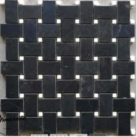Chip 23x46mm Black Weave Stone Mosaic