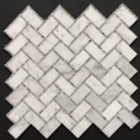 Carrara Marble Stone Mosaic Tile With Mesh