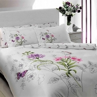 Saten Bed Set With Batterfly