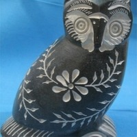Alabaster with Inlay Owl Statue