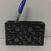 Decorative Black Marble Pen Stand