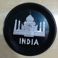 Marble Inlay Taj Mahal Design Plate