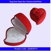 Single Ring Box Heart Shape Red White
