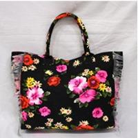 Canvas Floral Printed Beach Bag