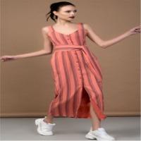Peach Striped Mid Length Dress