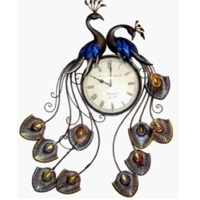 Iron Wall Decor Double Peacock Clock