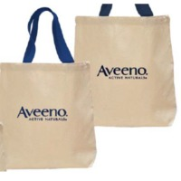 Cotton Canvas Tote Bag With Webbed Handle