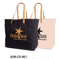 Cotton Shopping / Beach Bag with Leather Handle