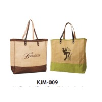 Jute Shopping / Beach Bag With Leather Handle