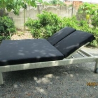 Poly Rattan Double Sunbed