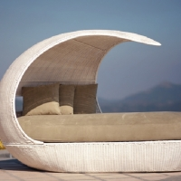 Poly Rattan Daybed With Canopy