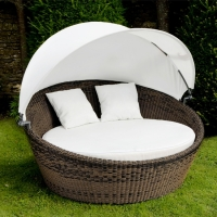 Poly Rattan Round Sunbed With Canopy