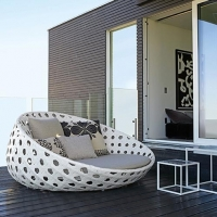 Poly Rattan Round Sunbed