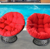 Poly Rattan Swivel Chair With Big Cushion