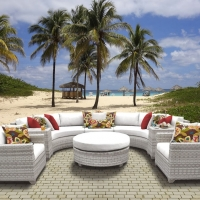 Poly Rattan Sectional Curved 8 Pcs Sofa Set