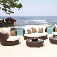 Wicker Rattan Outdoor Garden Round Sofa Set