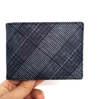 Men's Black-and-White Lattice Fabric Wallet