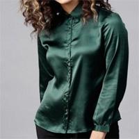 Long Sleeve Button Up Satin Silk Office Work