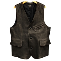 Real Black Leather Biker Jacket Vest