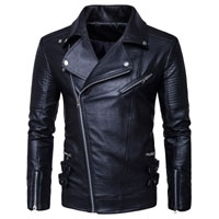 Zipp Black Leather Biker Jacket