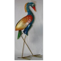 BlueRed Heron Standing with Candle Holder