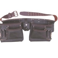 11 Pockets Split Oil Tanned Leather Tool Belt