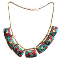 Multi Colour Coral Mosaic Necklace For Ladies