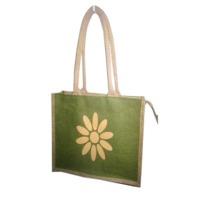 Flower Design Jute Bag