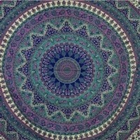 Indian Cotton Tapestry Multicolored Mandala