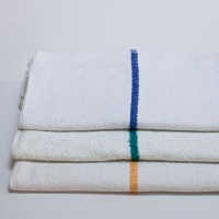 Barmop - Centre Color Striped Terry White Towel.