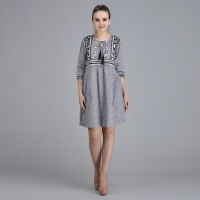 Women Cotton Embroidered Dress