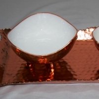 Metal Tray In Copper Finish With Two Bowls