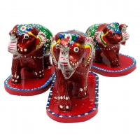 Paper Mache Pair of 3 Elephant Home Decorative