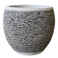 Round Pot Slat Stone