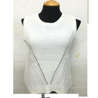 Women Casual Crew Neck Sleeveless Solid Sweater