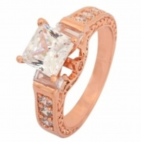Rose Gold Plated Solitaire Ring