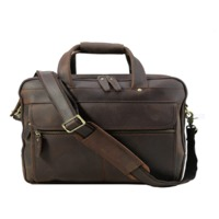Leather 17 inch Laptop Briefcase Bag (Coffee)