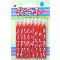 8ct Red Candles w/White Santa Claus