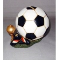 Polyresin soccer ball piggy bank