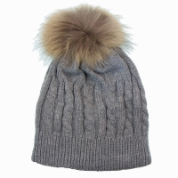 Cable Knit Hat With Fur Ball