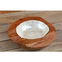 Wooden Bowl With Capiz Cover